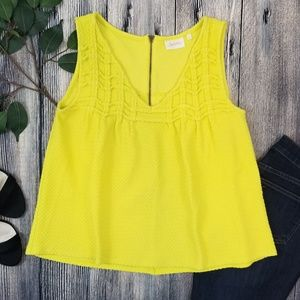 Anthropologie | Deletta Yellow Zip Up Back Tank